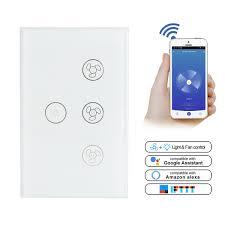 Wifi Ceiling Fan And Light Switch Details About Smart Wifi Ceiling Fan Light Lamp Switch In Wall For Alexa Google Home Assistant