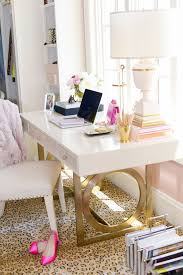 pink home office. Gold-white-acrylic-lacquer-desk-home-office-well- Pink Home Office E