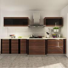 kenya wood grain pvc modular kitchen cabinet