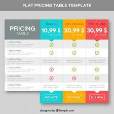 Pricing Table Templates Pricing Tables Template In Flat Design Vector Premium Download