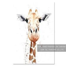 top artist pure hand painted funny animal giraffe oil painting on canvas big animal giraffe