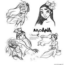 Moana Disney Princess Fan Art Coloring Pages Printable