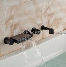 retro oil rubbed bronze wall mounted waterfall bathtub faucet with