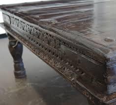 vintage indian teak carved coffee table dvtao034