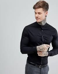 Best Black Shirt Design Asos Skinny Shirt In Black With Grandad Collar Black