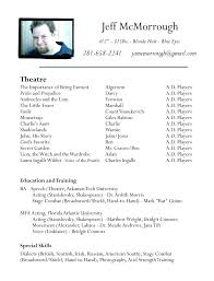 Voice Over Resume Template Theatre Resume Sample Acting Template