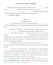 Limited Partnership Agreement Template Sample Agreement For Partnering On Events Impressive Simple
