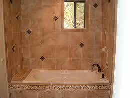 cream tile around ideas with freestanding white porcelain elegant shower design
