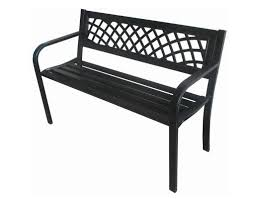 metal garden bench seat chair outdoor seating black steel frame pvc back h21 zoom