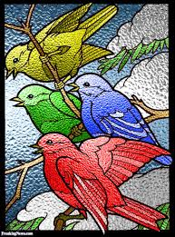 four calling birds stained glass window