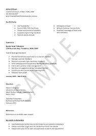 Hospitality resume sample. John Citizen 1234 Smith Street, SYDNEY, NSW,  2000 +61 410 234 567