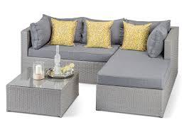 Clearance £240 f Grey Rattan Sofa Set with Charcoal Cushions
