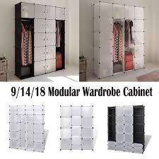 details about plastic clothes modular display shelf storage unit cabinet wardrobe bedroom rack