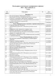 Контрольная работа №  Календарно тематическое планирование по физике 7 класс