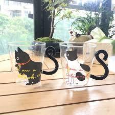 2019 New <b>Cute Creative Cat Kitty</b> Glass Mug Tea Cup Milk Coffee ...