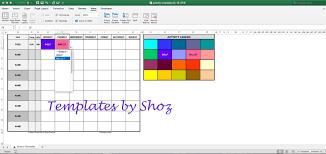 Activity Schedule Timetable Excel Xlsx File With Auto Colour