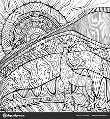 Decoratieve Giraffe En Zon En Afrikaanse Landschap Kleurplaat