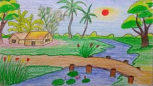 beautiful village nature sketch nature scene for drawing natural scenery drawing for kids beautiful