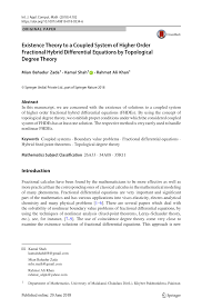 pdf existence of solution to a coupled system of hybrid fractional diffeial equations