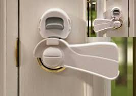 door covers and locks are great because they are hard for your child to figure out and also allow pas to open doors with ease