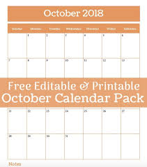 Printable October Calendar Free Printable And Editable October Calendar Pack Frugal Family Home