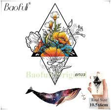 Baofuli эскиз треугольник роуз акварель геометрическая кит временные татуировки