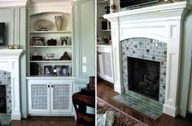 glass mosaic tile fireplace surround good looking design regarding decorating surrounds ideas with white portraits su