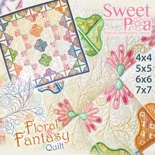 Sweet Pea Embroidery Designs Floral Fantasy Quilt Machine Embroidery Design Cd