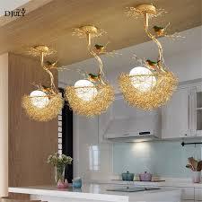 Kitchen Dining Light Fixtures Us 105 0 30 Off Nordic Modern Design Birds Nest Glass Chandelier For Kitchen Dining Room Led Lighting Fixtures Kids Bedroom Suspended Luminaire In