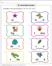 Worksheet for (very) young learners who have just started reading. R Controlled Vowel Worksheets
