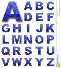 Blue Letters Set Alphabetical Letters Blue Color Stock Illustration