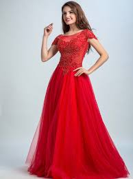 Dramatic A-line Scoop Cap Sleeves Sweep Train Red Tulle Beaded ...