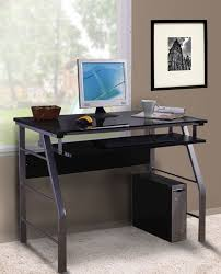 home office computer workstation. contemporary home black u0026 silver metal glass top home office computer workstation desk  with pullout keyboard and u