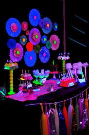 glow in the dark dessert buffet table