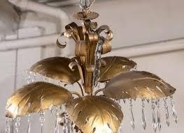 Leaf Light Fixture Brass Five Light Large Palm Leaf With Crystals