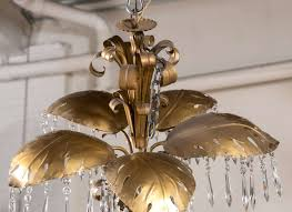 unknown brass five light large palm leaf with crystals chandelierhollywood regency style for