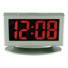 gray desk clock alarm with large display