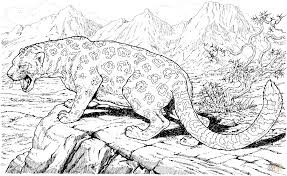 Small Picture Leopard Roars On Hills coloring page Free Printable Coloring Pages