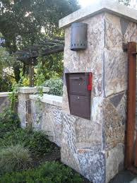 stone mailbox designs. Adorable Modern Industrial Mailbox Design With Stone And Black Metal Door Plus Red Flag Designs