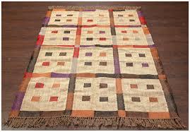 southwestern flat weave patch work multi handmade wool jute rug 22082