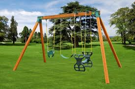classic wooden a frame swing set for kids