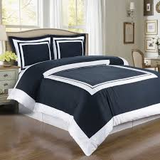 com duvet cover navy blue white border design pattern full queen double 100 egyptian cotton 3 piece bedding and shams pillowcases set home