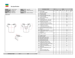 product spec sheet template garment specification sheet template