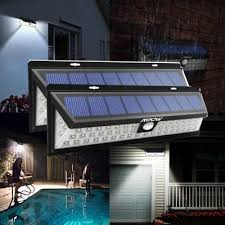 mpow waterproof 54 led solar power pir motion sensor garden security wall light