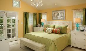 Bedroom Fashionable Orange Paint Idea With Glass Door White Frame Green Bed  Headboard And Curtains Grac ...