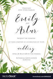Botanical Wedding Invitation Invite Card Design Vector Image