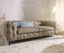 Couch Corleone 3 Sitzer Taupe Antik