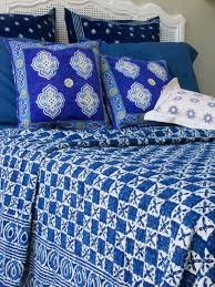 Designer India Blue Batik Quilted King Size Bedspreads Coverlet ... & Designer India Blue Batik Quilted King Size Bedspreads Coverlet   Saffron  Marigold Adamdwight.com