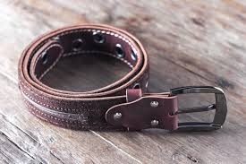 mens red leather belt