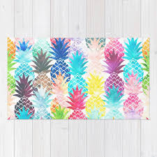 Pineapple Pattern Amazing Hawaiian Pineapple Pattern Tropical Watercolor Rug By Girlytrend
